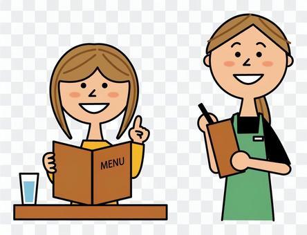 飲食店で注文する女性と店員