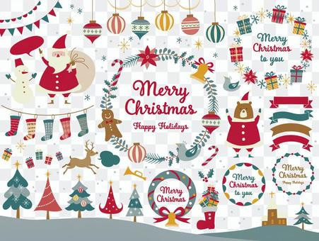 聖誕框架和插圖集