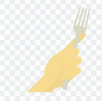 Hand with a fork
