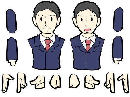 Suit men upper body set