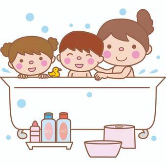 Bathing in the family (bathing scene)