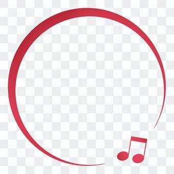 キラキラ赤いオンプの丸いフレーム