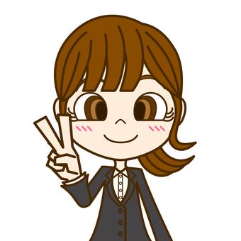 Woman doing peace ① / suit