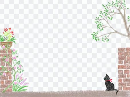 花卉園和黑貓背景