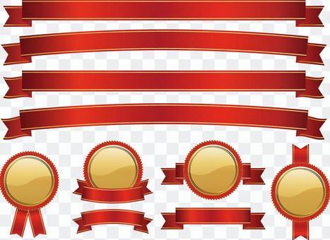 絲帶和勳章集紅金01
