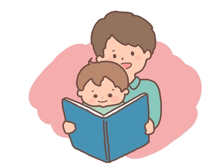 Storytelling of picture books Father and son parent and child