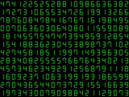 許多模糊的綠色數字數字