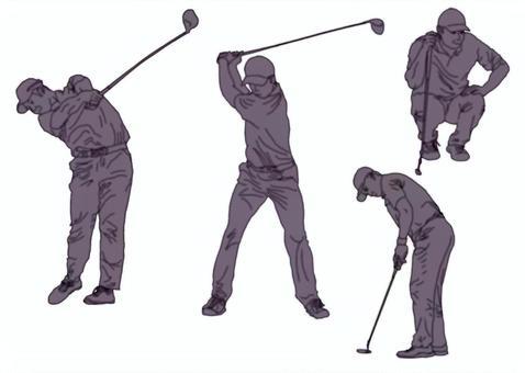 高爾夫剪影棕褐色