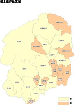 栃木縣市政行政區域