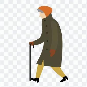Walking old man