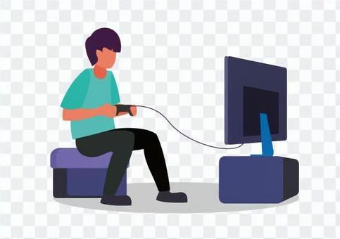 男孩玩電子遊戲