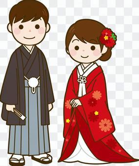 婚禮和服新娘和新郎