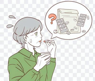 服用錯誤藥物的老年女性老人(簡單)