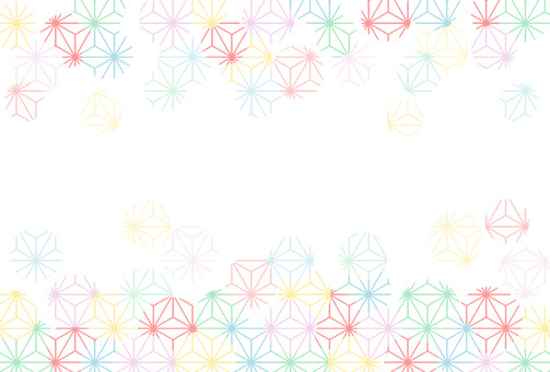 Colorful Japanese pattern frame Hemp leaf pattern
