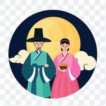 男人和女人與滿月並排站立