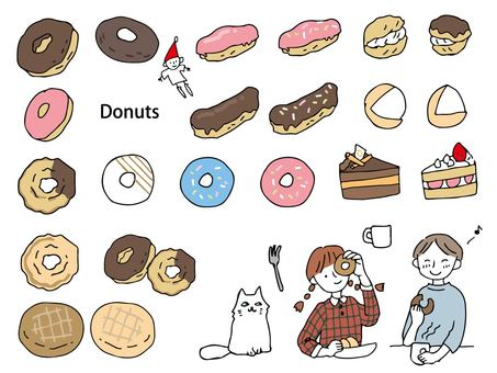 Hand drawn donut set