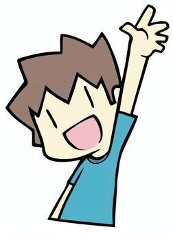 一個舉手的男孩