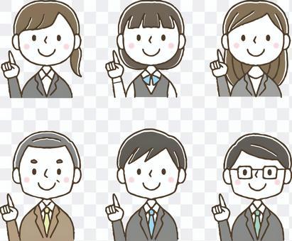 指差しするかわいい会社員セット/手描き