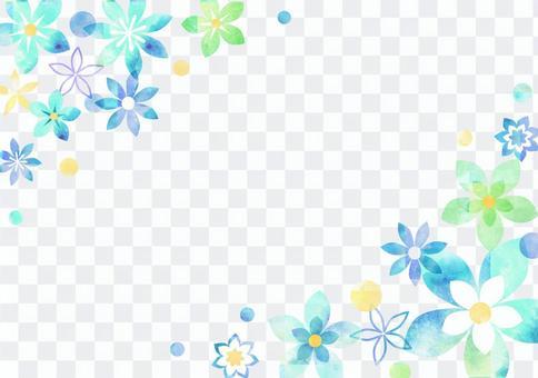 꽃 _ 수채화 _ 블루 배경 2000