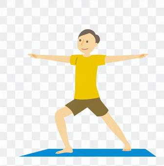 男人在做瑜伽