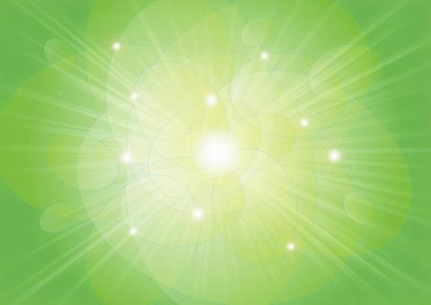 橢圓形的圓球和射線 - 綠色