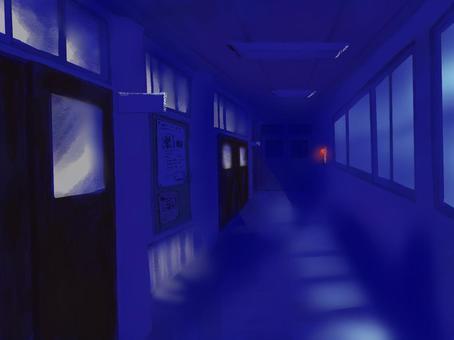 Loose school corridor / night