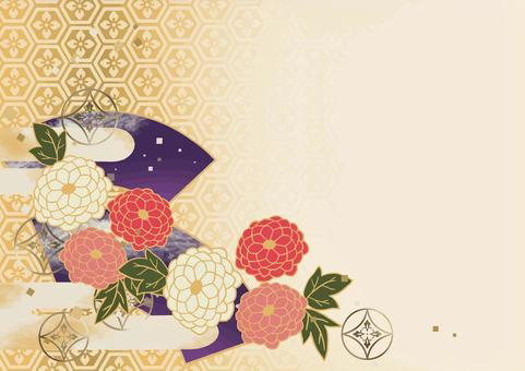 和風お花背景 牡丹と扇