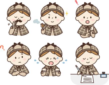 Child detective icon set boy 1