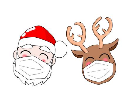 戴著面具的聖誕老人和馴鹿