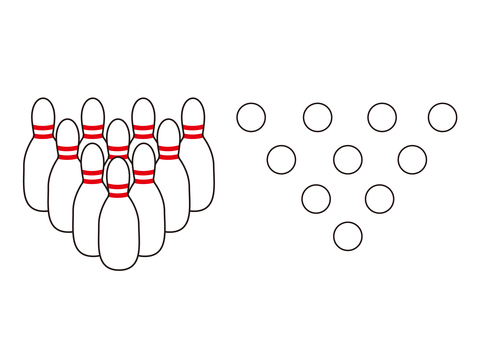 2 (bowling pins, 10 pieces, sideways, directly above)
