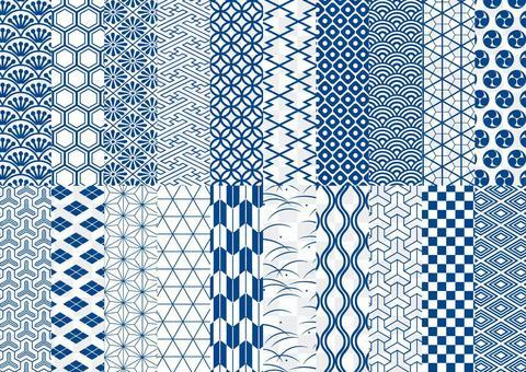 Japanese Pattern Seamless Pattern Set (Blue)