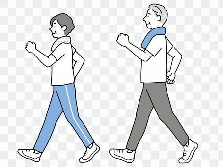 為健康而行走的老年男女