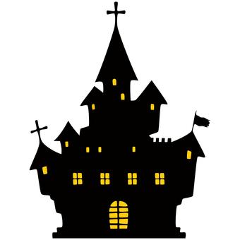 Creepy castle silhouette Western-style building