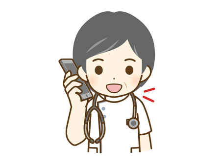 Middle-aged male nurse talking on the phone