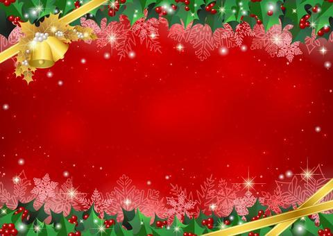 柊フレームのクリスマス背景赤ヨコ