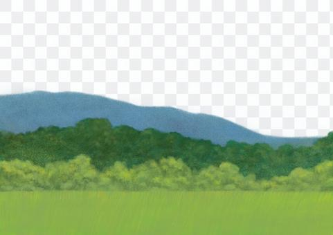 Illustration of green mountains [transparent background]
