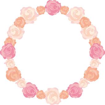 Rose flower circular frame