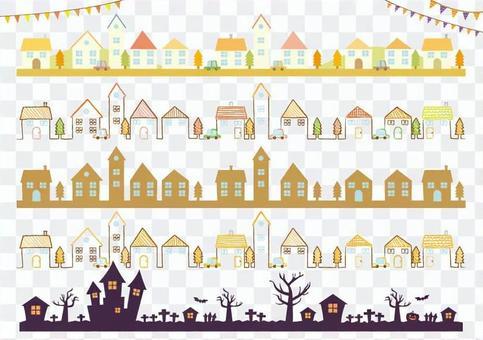 Autumn townscape / illustration / line material