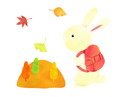 Mountain of autumn leaves, rabbit climbing