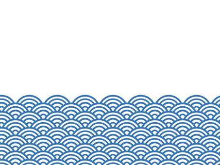 半青海波浪背景:藍色