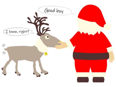 聖誕老人對馴鹿尖叫