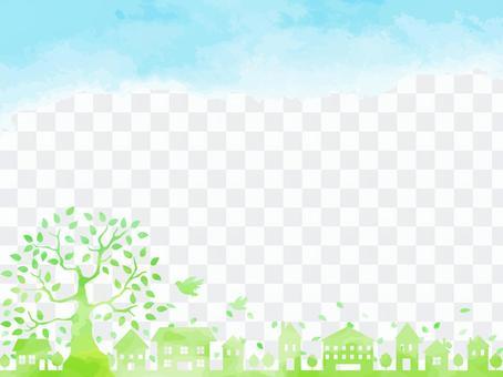 깨끗한 녹색의 자연 넘치는 거리 풍경 배경