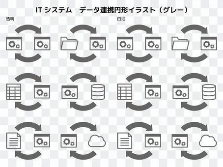 數據合作圓形圖(灰色)
