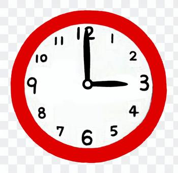 Clock pointing to 3 o'clock