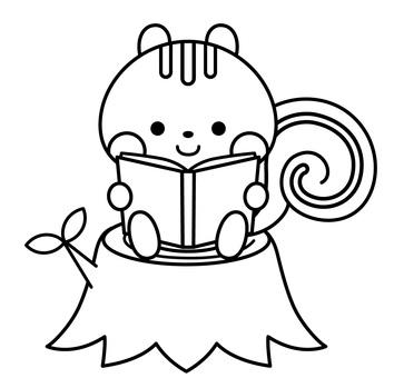 一隻松鼠在看書的著色書插圖