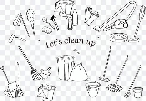 清潔工具線條藝術