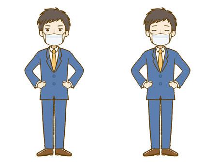 西裝男面具雙手叉腰站立