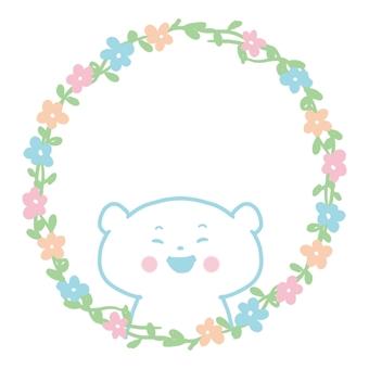 No.231 圓形小花框帶熊