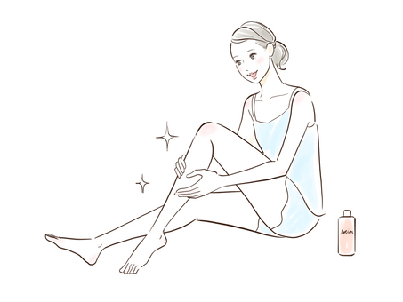 A woman who is pleased with her legs becoming slippery