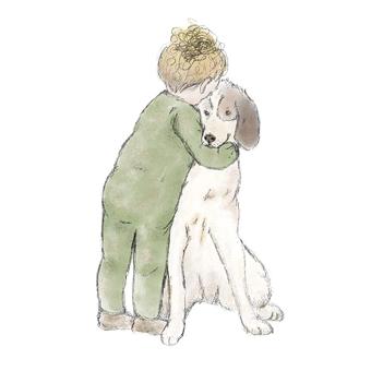 Toddler hugging his favorite large dog